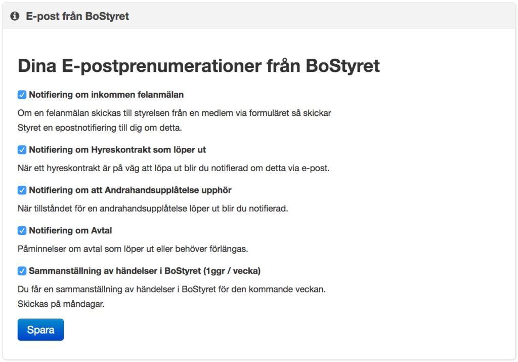 Inställningar för e-postprenumerationer i BoStyret
