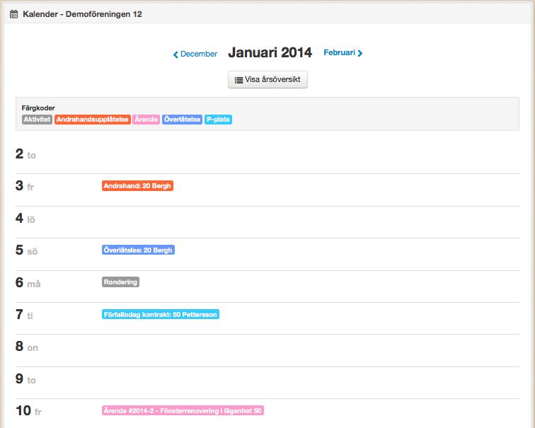 Kalender och aktiviteter i BoStyret