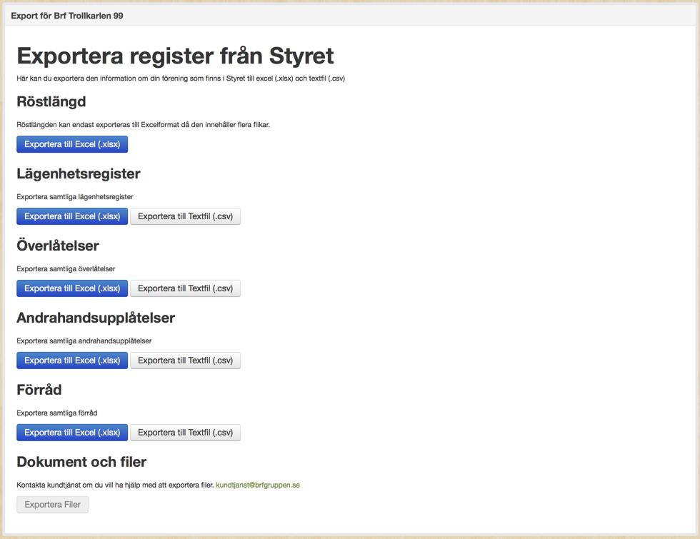 exportera register